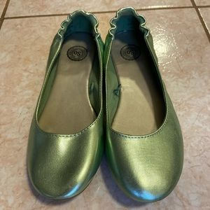 Mint Green Metallic Ballet Flats
